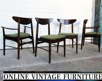 4 RESTORED 1950s Chairs by Stanley Furniture vintage mid century midcentury mid-century modern dining room chair set modern arm side