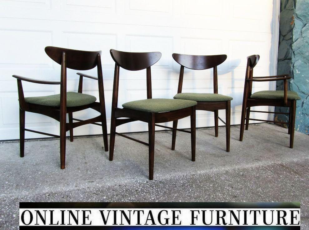 4 restored 1950s chairs by stanley furniture vintage mid for Modern room chairs