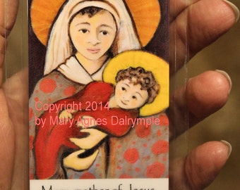 Catholic Holy Card Hail Mary Prayer Folk Art Naive Mother Child Blessed Virgin Baby Jesus Handmade
