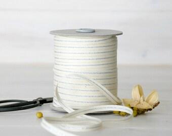 """Natural Cotton Ribbon with Silver - 5, 20 or 109 Yards - Wedding Ribbon - 1/4"""" wide - Metallic Cotton Ribbons - Metallic Ribbons - Ribbons"""