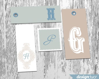 Monogram Gift Tags 54 Styles in Winter Theme Includes A to Z Printable INSTANT DOWNLOAD