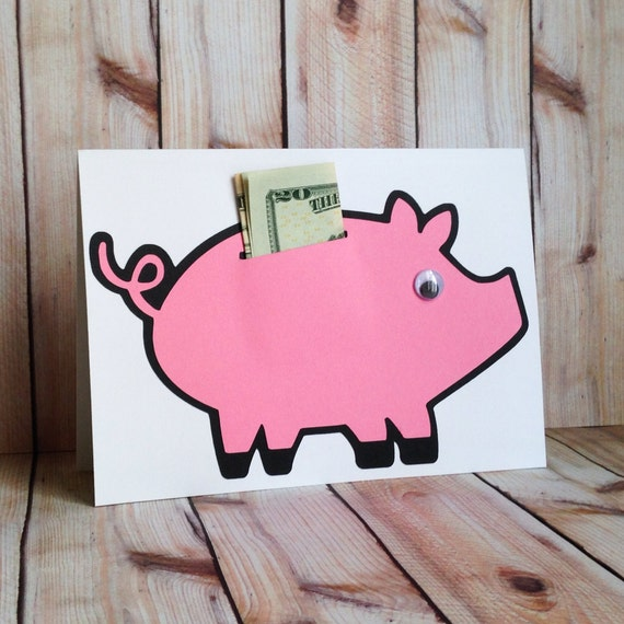 Money holder birthday card piggy bank for by for How to make a piggy bank you can t open