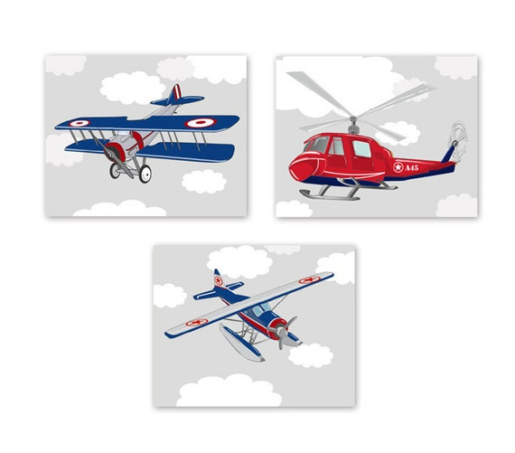 Boy S Room Airplane And Constellation Wall Map: Baby Boy Nursery Art Airplane And Helicopter Prints Kids Wall