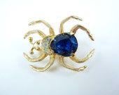Rare EISENBERG Spider Signed & Numbered Large Faceted Sapphire Blue Belly Clear Rhinestone and Gold Plated Sterling Brooch Pin