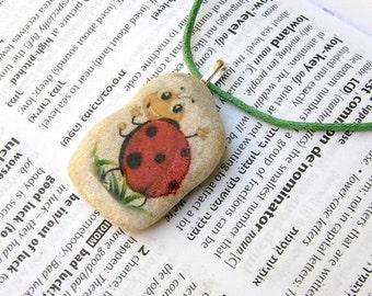 ladybug necklace ladybug pendant ladybug jewelry animal necklace decorated rock ladybug decorated stone stone jewelry unique stone gift