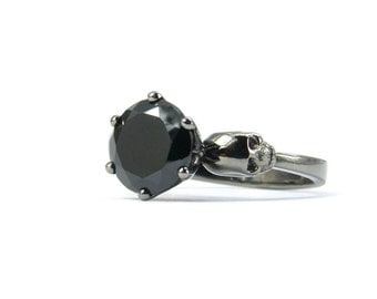 Skull Engagement Ring, Womans Skull Ring, Black Gold Ring, Memento Mori Ring, Goth Engagement, Black Stone, Gothabilly Psychobilly All Sizes