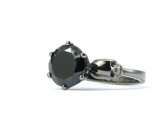 14K Black Gold Skull Engagement Ring with Black Stone - All Sizes