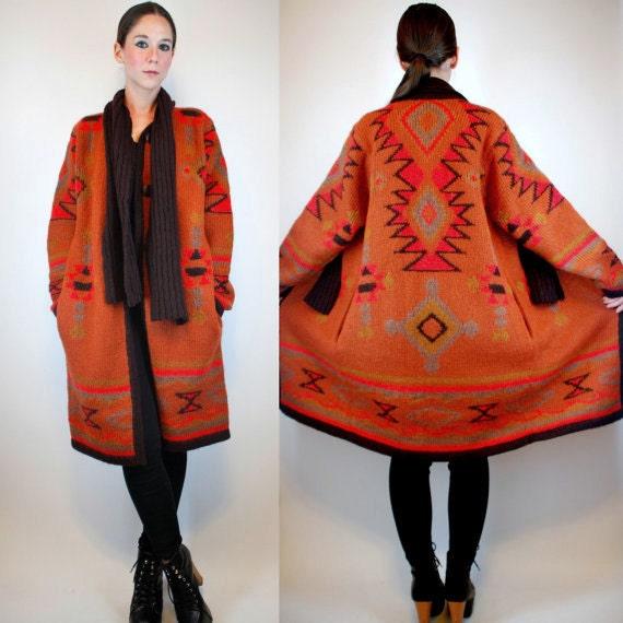 INDIAN BLANKET Wool Sweater COAT. Bohemian Southwestern Navajo