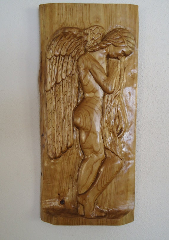 Maple wood angel carving wings panel
