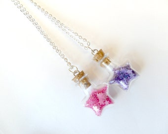Fairy Kei Glitter Wishing Stars Bottle Charm Necklace, Pink or Purple, Silver Plated or Surgical Stainless Steel Chain, Cute & Kawaii :D