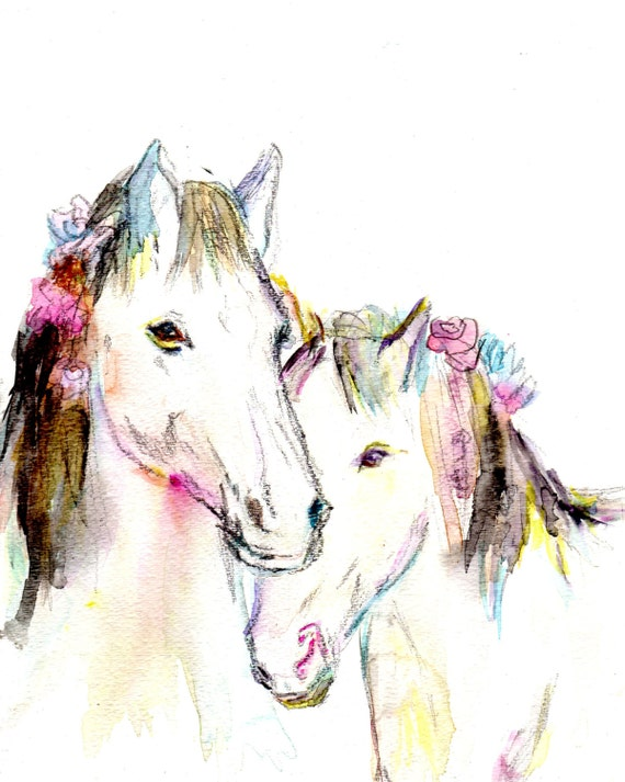 "Print of Watercolor Painting ""Wild, Wild Horses"" 8 x 10 Print of Original Watercolor Painting Horse Love"