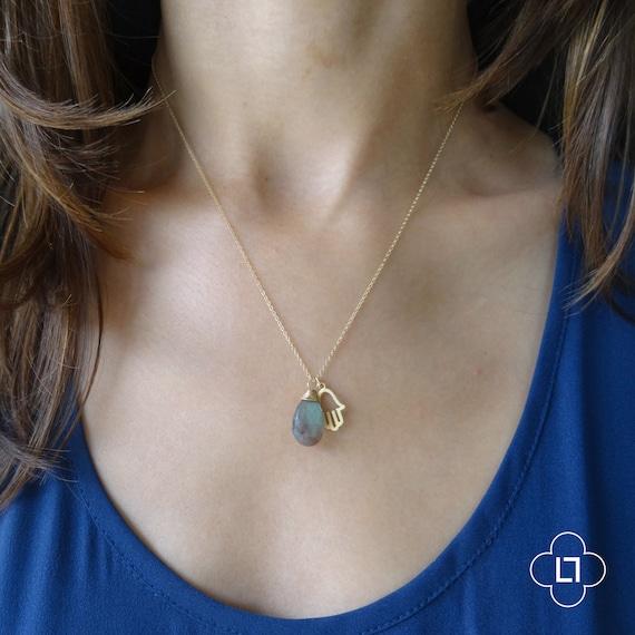 Hamsa Necklace, Labradorite Necklace, Delicate Necklace, Gold Necklace, Gemstone Necklace, Gold Hamsa Necklace, Thin Gold Chain, Dainty Gold
