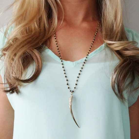 Gold Horn Necklace, Tusk Necklace, Black Onyx Rosary Necklace, Long Horn Necklace, Landon Lacey, Delicate Necklace, Black Rosary, Long Gold