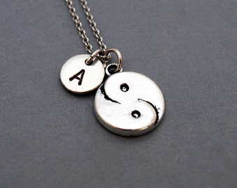 Yin and Yang necklace, Yin and Yang charm, Asian symbol, initial necklace, initial hand stamped, personalized, antique silver, monogram