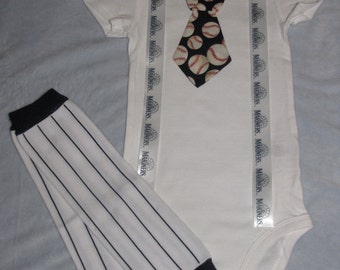 SEATTLE MARINERS inspired baseball outfit for baby boy - tie bodysuit with suspenders and leg warmers