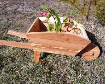 Cedar Wheel Barrow Planter - All natural - Western Red Cedar - Eco Friendly