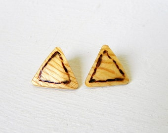 Wooden Triangle Earrings Burned Design One of a kind up-cycled jewelry geometric earrings Recyled