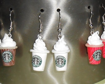 Starbucks Frappucino Earring Dangles Miniature Coffee drinks choose your favorite from three flavors- white regular cup, mocha, strawberry