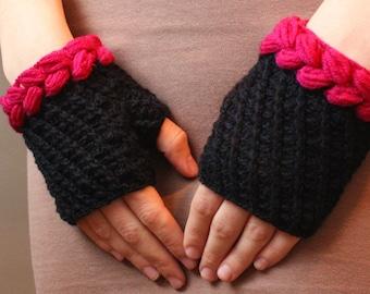 blacks and fuchsia gloves, fingerless gloves, mittens