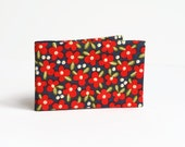 Red Flower Oyster Card Holder, Travel / Subway Card Wallet. Fabric Credit Card Case - Red and Navy Floral