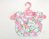Baby bib, girls dribble bib, spring flowers pastels, baby girl clothes, uk seller, vintage fabric
