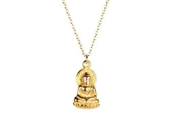 Buddha necklace - gold buddha necklace - yoga necklace - gautama buddha - a 22k gold vermeil buddha on a 14k gold vermeil chain