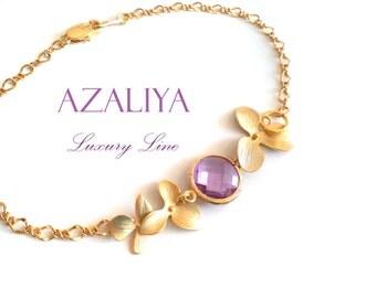 Lilac Stone Orchid Bracelet in Gold. Bridal Bracelet. Lilac Quartz Bracelet. Azaliya Luxury Line. Bridal Jewelry, Bridesmaid Bracelet. Gifts
