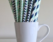 Mint Green and Navy Blue Paper Straws Navy and Mint Striped and Chevron Party Supplies Party Decor Bar Cart Accessories Cake Pop Sticks