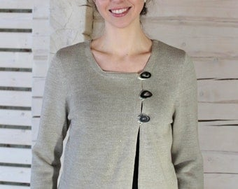 Knitted Linen Cardigan With Decorative Buttons On a Chest