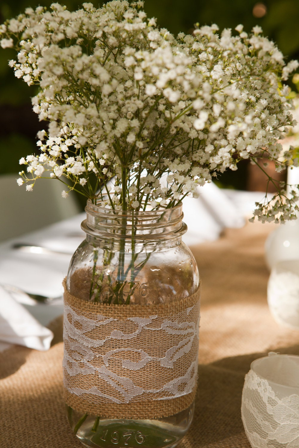 Rustic Wedding Decor Lace And Burlap Mason Jar