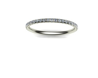 Delicate 14K White Gold Band with White Diamonds U-set