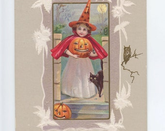 halloween, vintage postcard, pretty awful team, pacific postcards team