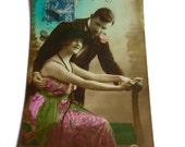Vintage Sweetheart Postcard . 1920's Postcard . Romantic French Couple Card .