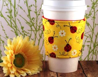 Fabric Coffee Cozy / Ladybugs on Yellow Coffee Cozy / Ladybug Coffee Cozy / Coffee Cozy / Tea Cozy