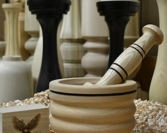 Rosalie Gourmet Wood Mortar and Pestle Set