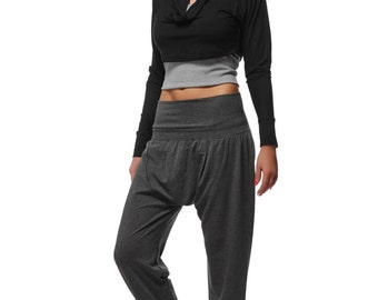 Dropped Crotch Yoga Pants Black Harem Yoga Pants Loose