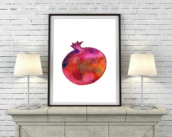 Pomegranate painting, Kitchen print, Watercolor print, Fruit print, Botanical print, Fruit art, Apartment decor, Red art