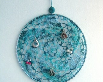 Earring Holder - Multicolor Blues with Blue Sparkle / Jewelry Organizer / Jewelry Display / Suncatcher / Dreamcatcher