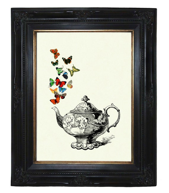 Teapot colorful Butterflies Teaparty Kitchen Victorian Steampunk art print