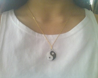 Yin Yang Necklace on Gold or Silver Chain