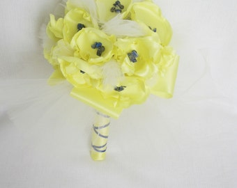 Yellow ribbon flower bouquet with semi-precious gemstone beads. Ready to ship Sale was 180