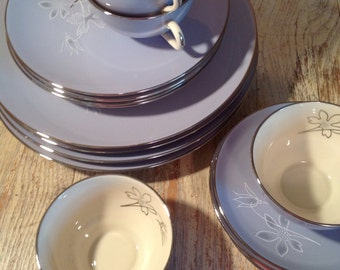 Vintage Franciscan Fine China Brentwood 4 Place Settings - Gladding McBean & Co Blue Dishes Platinum Trim Service for 4