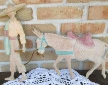 Vintage cast metal wall art hanging meixican man sombrero donkey burro southwest decor