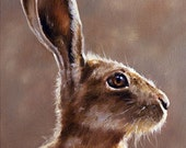 Aceo Print, Wild Hare. From an Original Painting by Award Winning Artist JOHN SILVER. Personally signed. HA001AC
