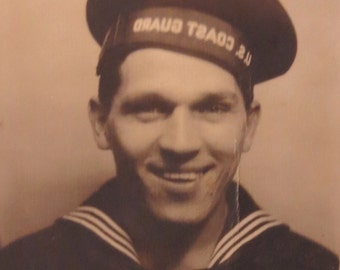 World War II Era 1940's Handsome US Coast Guard Sailor Photo Booth Photo - Free Shipping