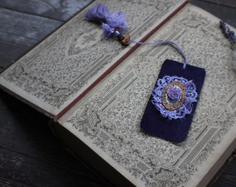 "Handmade BOOKMARK, textile lace bookmark, purple roses bookmark, vintage Victorian bookmark with handmade tassel: ""Consolation"""