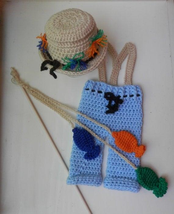 Crochet fishing baby outfit handmade crochet set fishing hat for Baby fishing outfit