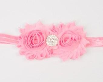 Valentines Day Pink Baby Headband, baby girl headband,Newborn Headband, shabby chic flower headband,Baby Headband,Baby Hairbow-Headband