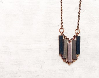 Wood Geometric Necklace // SPARKLING // Minimal Jewelry // Hand-Painted Necklace // Modern Necklaces