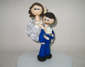 Funny wedding cake topper, funny cake topper, groom carrying bride